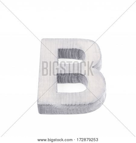 Single sawn wooden letter B symbol coated with paint isolated over the white background