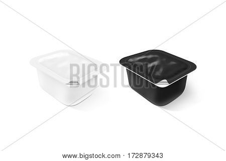 Blank black and white sauce plastic container mock up stand isolated 3d illustration. Sause clear jar mockup. Dip empty box design presentation. Butter or honey packaging. Jam bank template.