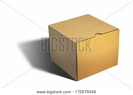 closed carton box over white background with shadow