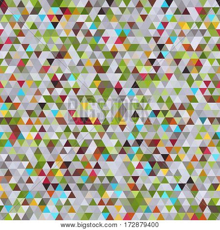 Abstract Geometric Seamless Pattern of Colored Triangles. Colorful Retro Triangle Design.