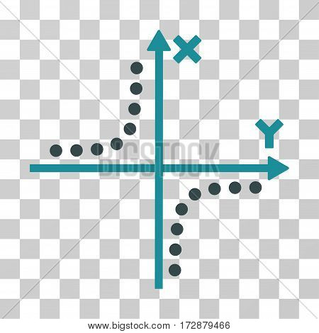 Hyperbola Plot vector pictogram. Illustration style is flat iconic bicolor soft blue symbol on a transparent background.