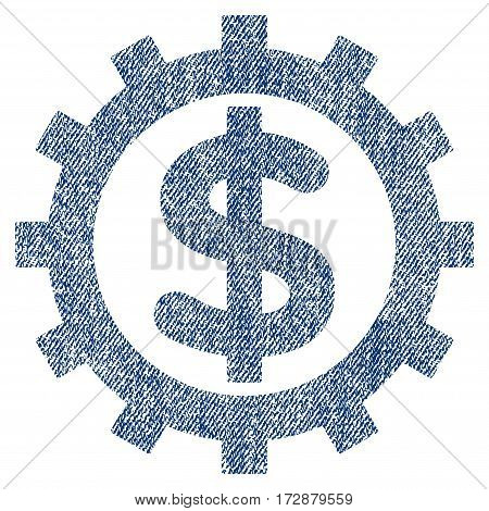 Financial Industry vector textured icon for overlay watermark stamps. Blue jeans fabric vectorized texture. Symbol with scratched design. Blue ink rubber seal stamp with fiber textile structure.