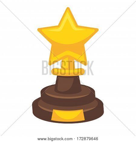 Golden award in star shape isolated on white. Reward trophy on brown stand given to people who win contests and competitions. Metal golden trophy representing first place prize, icon of success