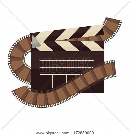Cinema clapperboard and film logo for cinema design element. Vector isolated clapper flat icon