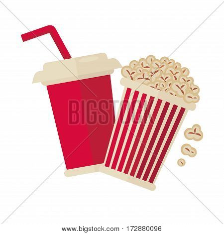 Cinema popcron and soda drink cup logo for cinema design element. Vector isolated flat icon