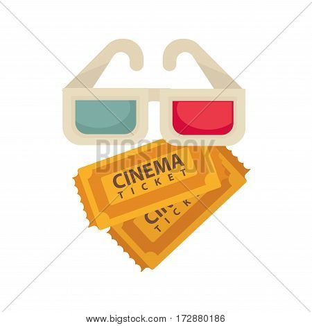 Cinema 3D stereo glasses and tickets logo for cinema design element. Vector isolated flat icon