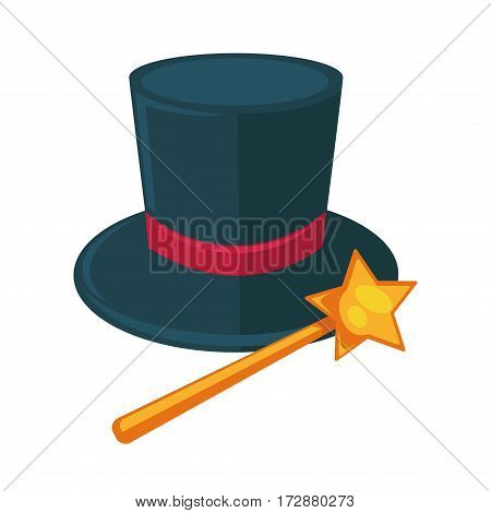 Realistic magician dark hat with purple ribbon and magic yellow stick with star on top isolated entertainment accessories on white. Vector illustration of elements for fantastic performances in circus