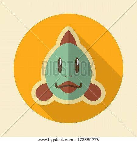 Fish flat icon. Animal head vector illustration eps 10