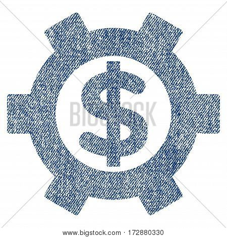 Financial Settings vector textured icon for overlay watermark stamps. Blue jeans fabric vectorized texture. Symbol with dust design. Blue ink rubber seal stamp with fiber textile structure.