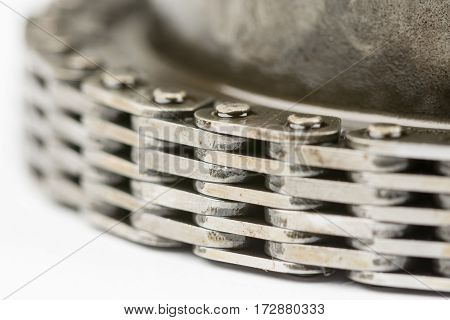 Macro Closeup Car Timing Chain Oiled Used