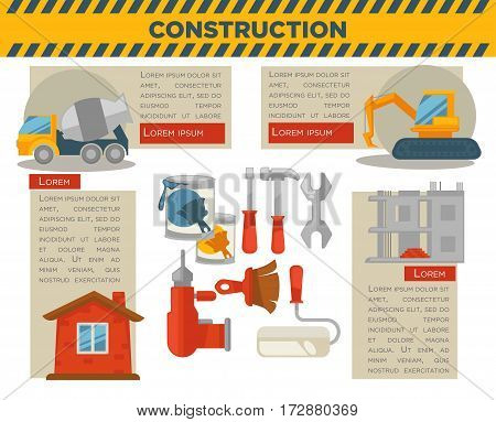 Building or house construction infographics templates. Vector concrete mixer and excavator machine and builder or carpenter work tool instruments