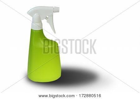 plastic water sprayer with shadow over white background