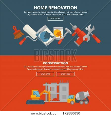 Home renovation and construction vector web banner. Equipments for building house and tools for renovation. Two special vehicles building house and collection of tools and brushes with paints