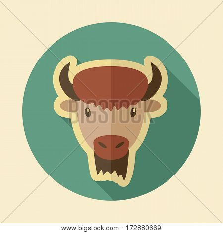 Bison bull buffalo ox flat icon. Animal horned head vector symbol eps 10