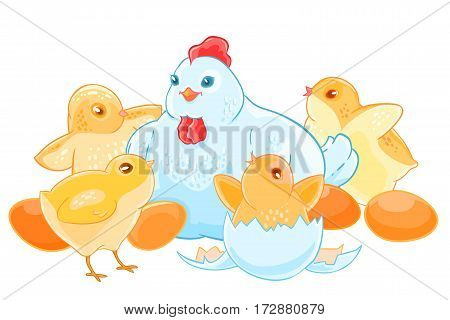 Cartoon mother hen sits on the eggs. Brood of cute little Chicks. Vector illustration.T-shirt print. Greeting card.