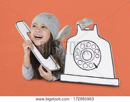 Little Girl Telephone Paper craft Concept