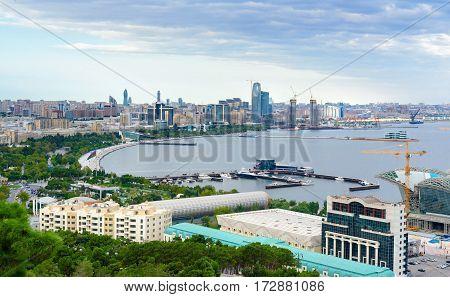 View Of The City Boulevard. Baku