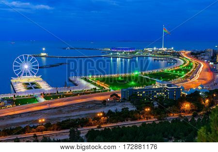 Night View Of The City Baku And National Flag Square