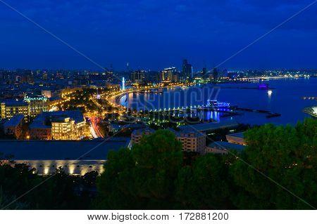 Night View Of The City Boulevard. Baku