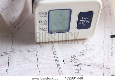 Tonometer to measure pressure and heart cardiogram. Medicine.