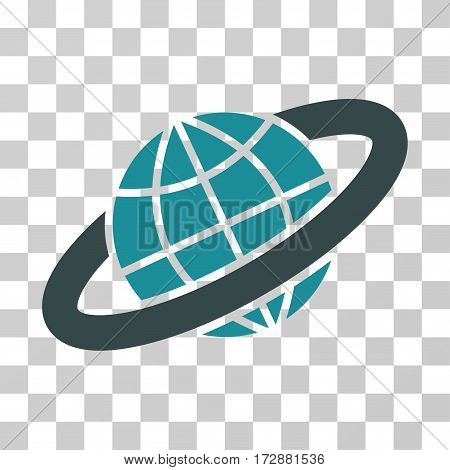 Planetary Ring vector icon. Illustration style is flat iconic bicolor soft blue symbol on a transparent background.
