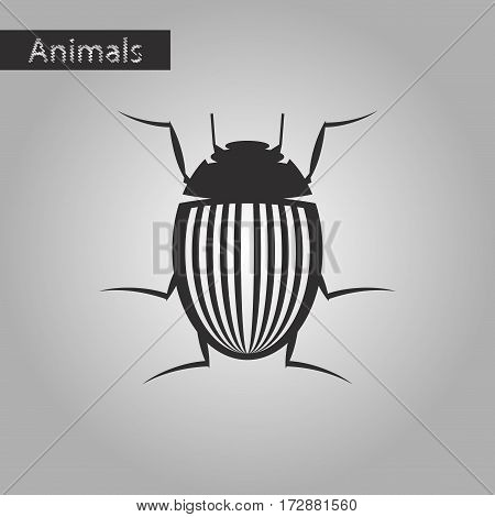 black and white style icon of Colorado beetle