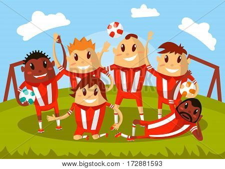 Football team waving hands and smiling for photo. Players after match celebrating championship victory lying on grass field. Vector flat cartoon characters illustration