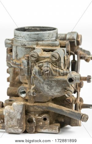 Old Used Dirty Carburetor Over White Background