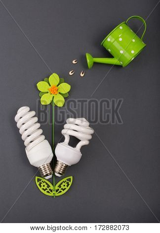 Flower With Eco Bulbs As Leaves