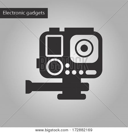 black and white style icon of camcorder