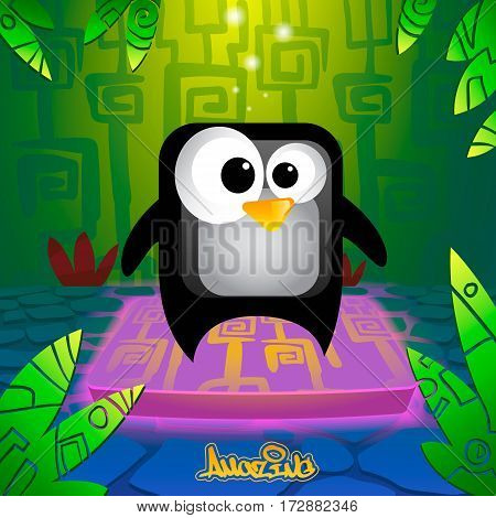 Cute and amazing cartoon penguin vector illustration