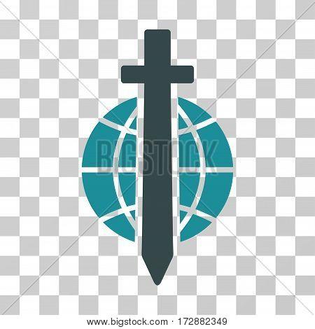 Sword Globe vector pictogram. Illustration style is flat iconic bicolor soft blue symbol on a transparent background.