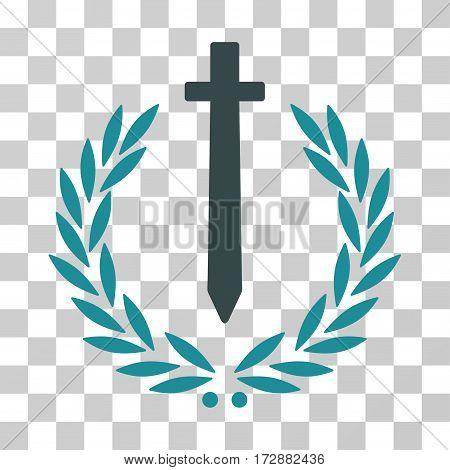 Sword Honor Embleme vector pictogram. Illustration style is flat iconic bicolor soft blue symbol on a transparent background.