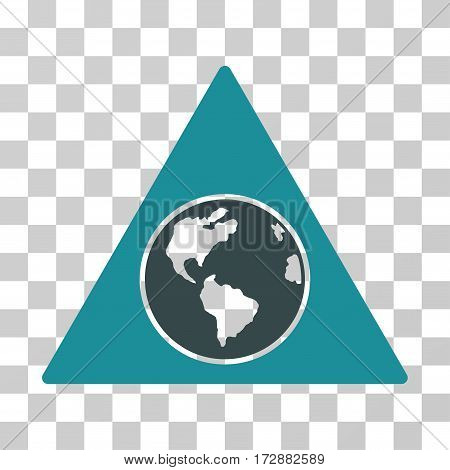 Terra Triangle vector icon. Illustration style is flat iconic bicolor soft blue symbol on a transparent background.