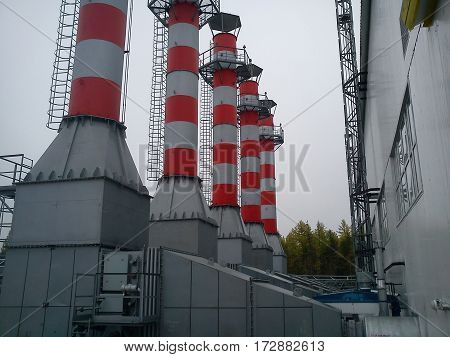 Power station exhausts in Siberia - Russian oilfield