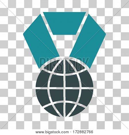 World Award vector pictograph. Illustration style is flat iconic bicolor soft blue symbol on a transparent background.
