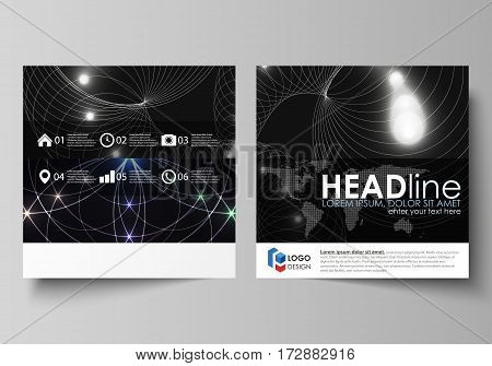 Business templates for square design brochure, magazine, flyer, booklet or annual report. Leaflet cover, abstract flat layout, easy editable vector. Sacred geometry, glowing geometrical ornament. Mystical background.