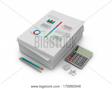 A stack of documents papers and stationery on a white background. 3D illustration