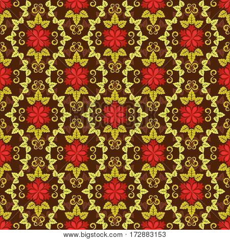 Seamless red and yellow floral pattern.