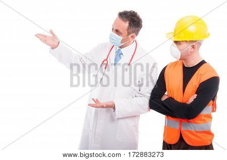 Doctor Explaining Something To Constructor