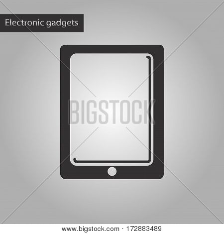 black and white style icon of tablet gadget