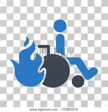 Burn Patient vector pictogram. Illustration style is flat iconic bicolor smooth blue symbol on a transparent background.