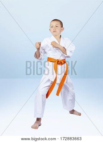 Boy karateka stands in the rack karate