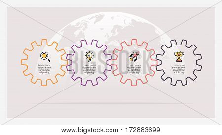Business infographics. Timeline with 4 gears, cogwheels