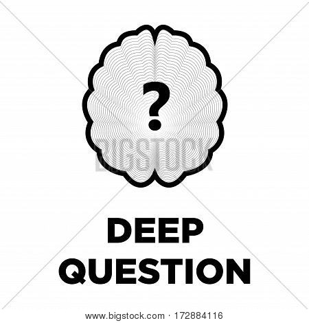 Brain deep question creative logo with interrogative mark. Smart intelligence and thinking concept vector template