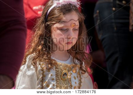 Jewish Girl Celebrate The Purim Holiday At Street Event