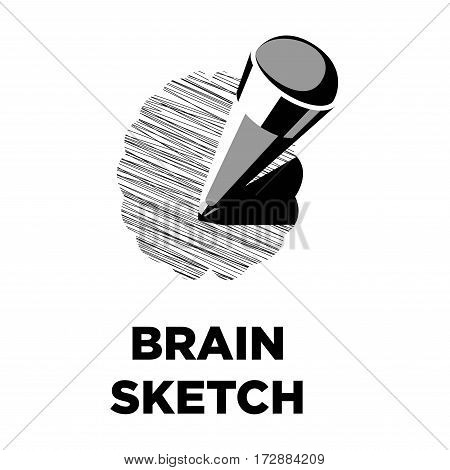 Brain sketch drawn with pencil creative logo. Smart intelligence and thinking art concept vector template