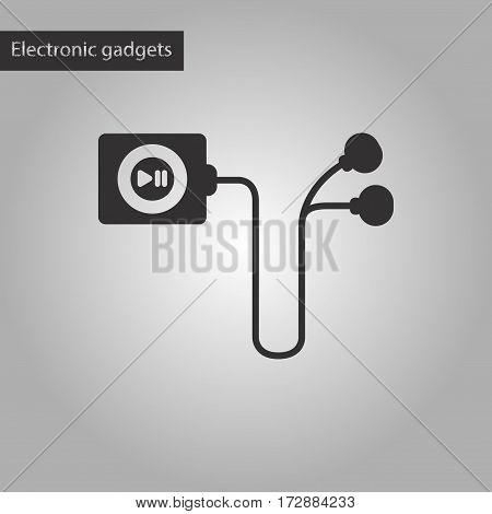 black and white style icon of player with headphones