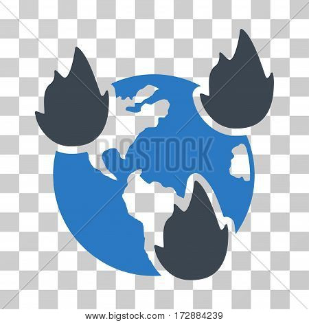 Earth Disasters vector pictogram. Illustration style is flat iconic bicolor smooth blue symbol on a transparent background.