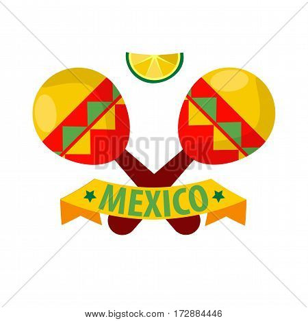 Mexican musical crossed maracas logotype in flat design isolated on white. Traditional mexican colorful wooden musical instruments label with yellow ribbon and inscription, lime slice on top.